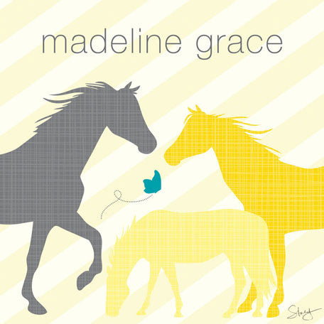 Modern Horses (Yellow) Wall Art