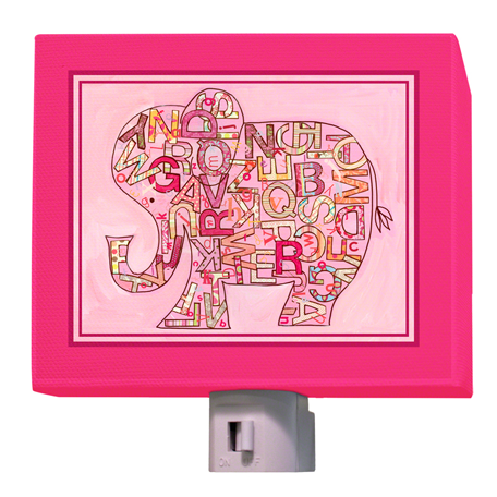 Pink Alphabet Elephant Nightlight