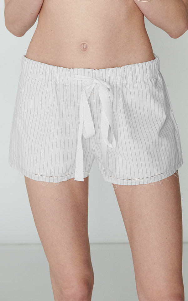 *SALE* Drawstring Short in Japanese Striped Poplin