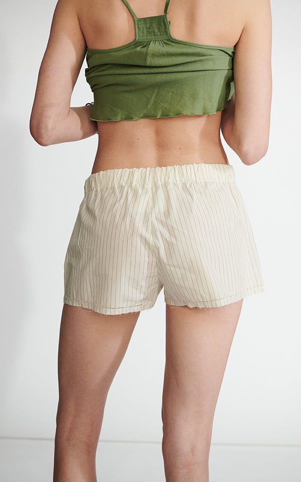 Drawstring Short in Japanese Striped Poplin