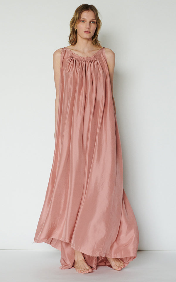 Gather Maxi Dress in Silk