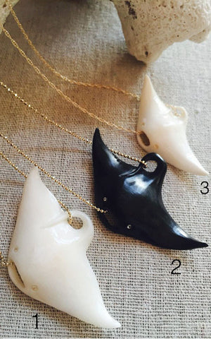 Hand Carved Manta Ray Necklace