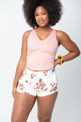"""The Jayne Crop"" V-Neck - Solid Blush"