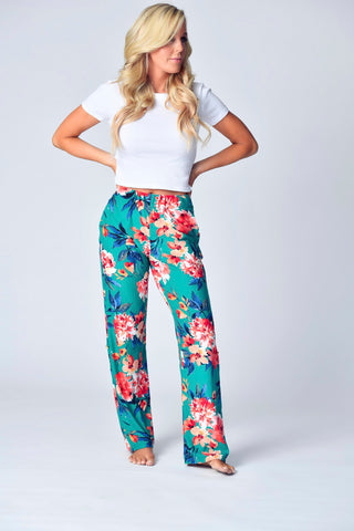"""The Jayne Lounger"" Multi-Way Pant- Emerald Garden"
