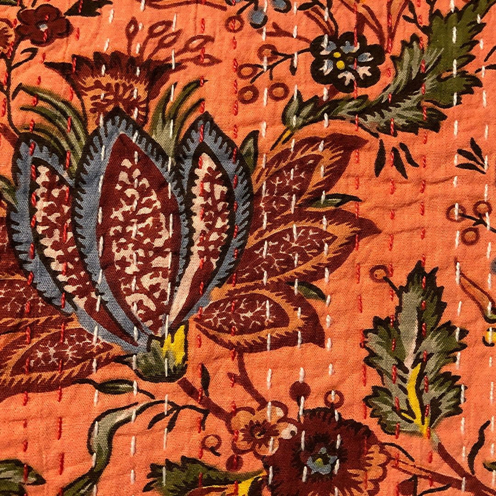 Orange Floral Kantha Stitched Bedspread
