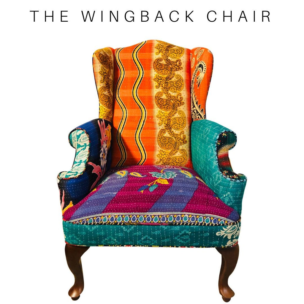 Vintage Kantha Wingback Chair