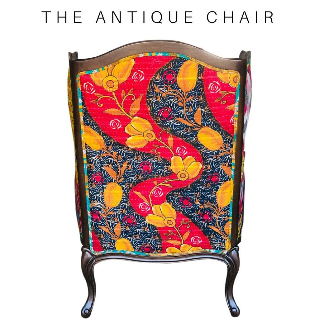 Vintage Kantha Antique Wingback Chair