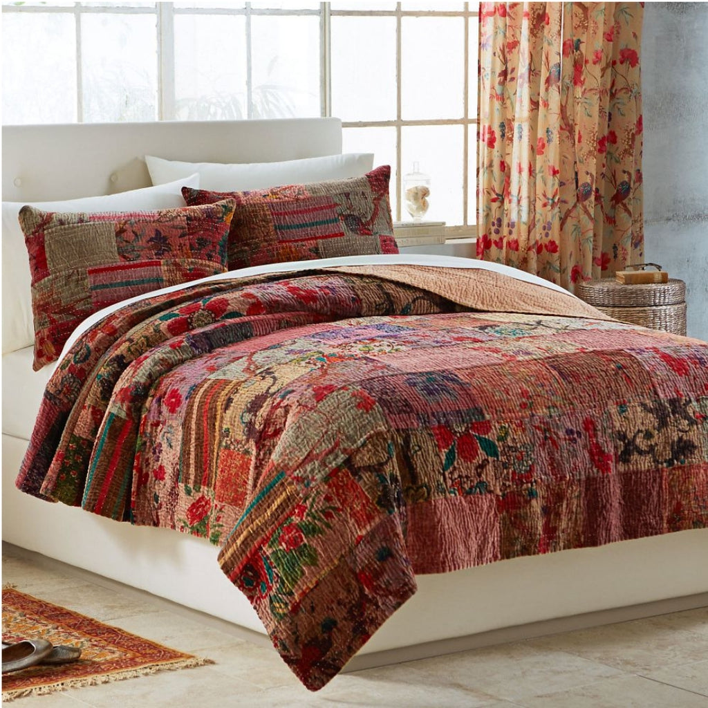 Multi Red Hand Stitched Kantha Bedspread