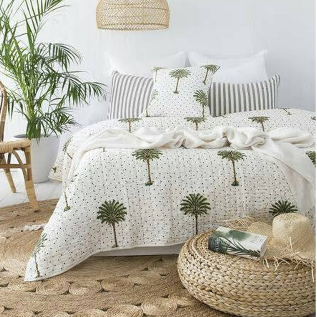 Whimsical Palm Trees Kantha Stitched Bedspread