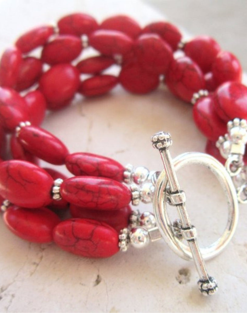 Red Turquoise Bracelet