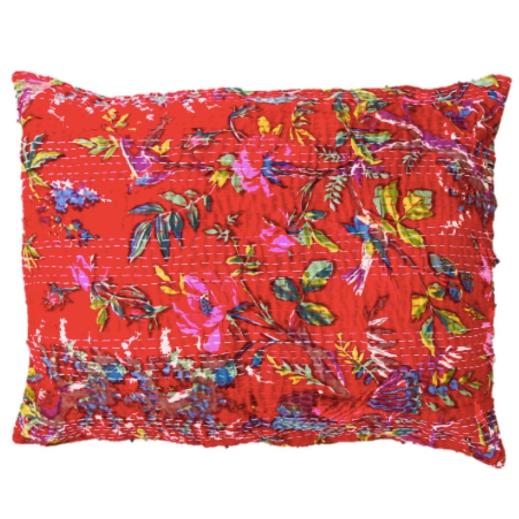 Birds of India Red Hand Stitched Kantha Sham