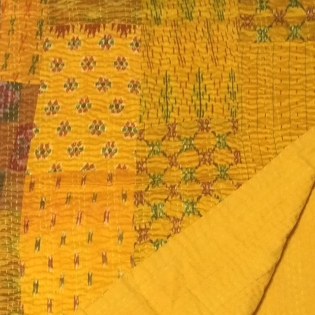 Yellow Vintage Kantha Patchwork Bedspread