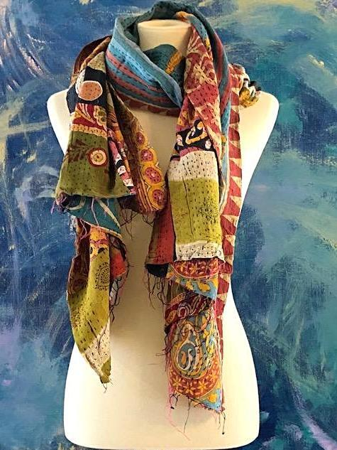 Apparel - Vintage Multi Color Way Kantha Scarf
