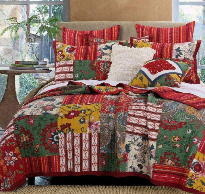 Boho Reversible Floral Kantha Coverlet Set