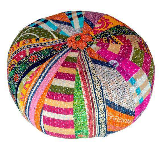 Floor Pouf - Multi Color Vintage Kantha Floor Cushion