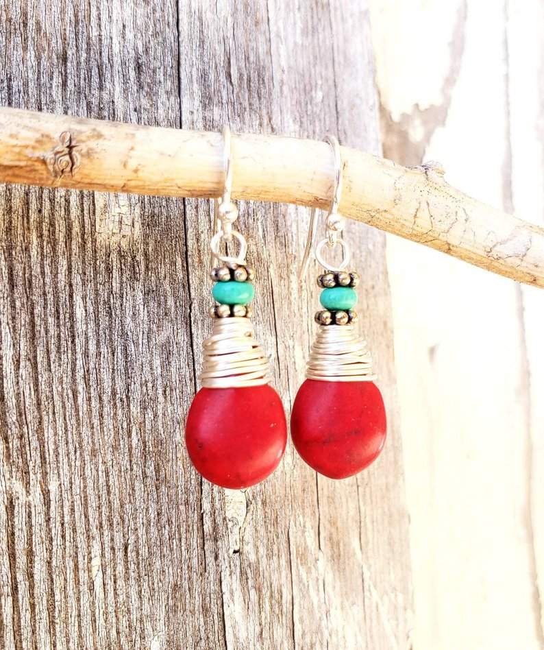 Red Turquoise Stone Earrings