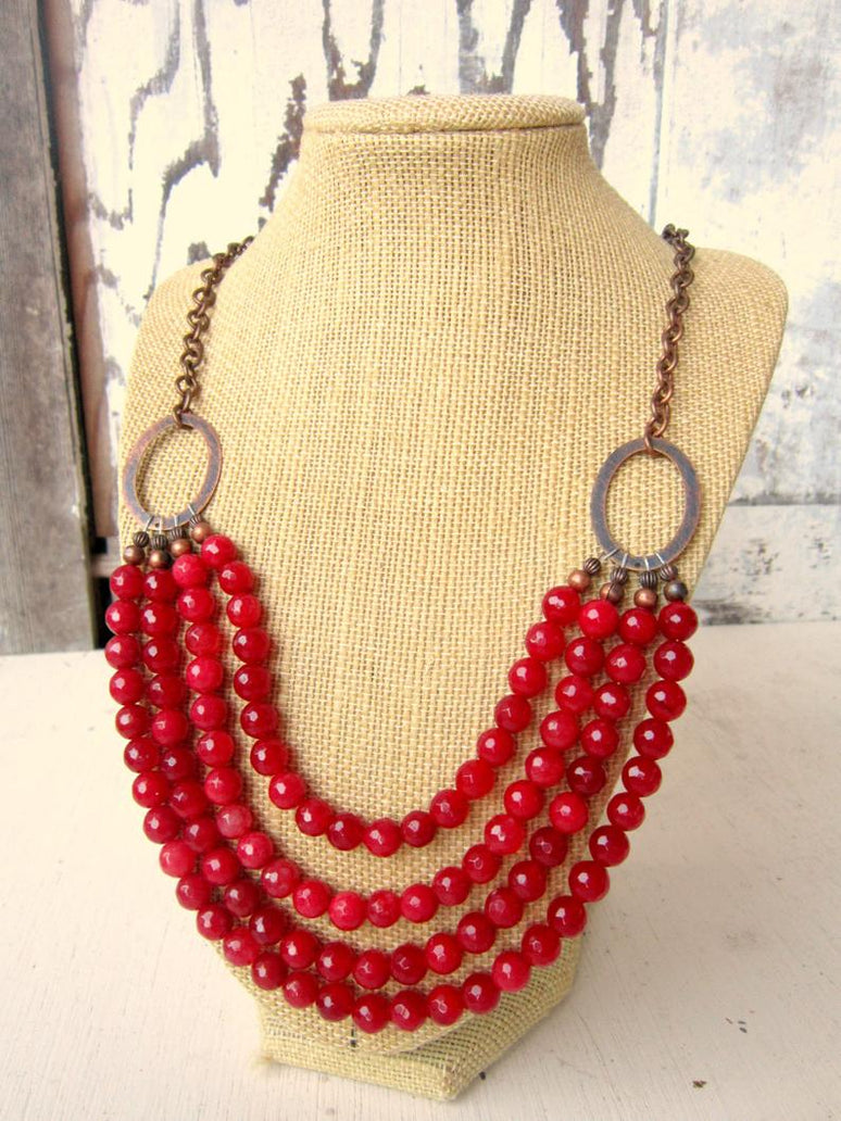 Handmade Red Jade Gemstone Necklace