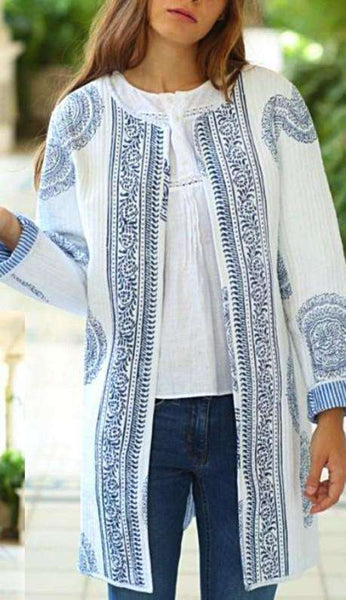 Kantha Jacket - Blue Dahlia Coat