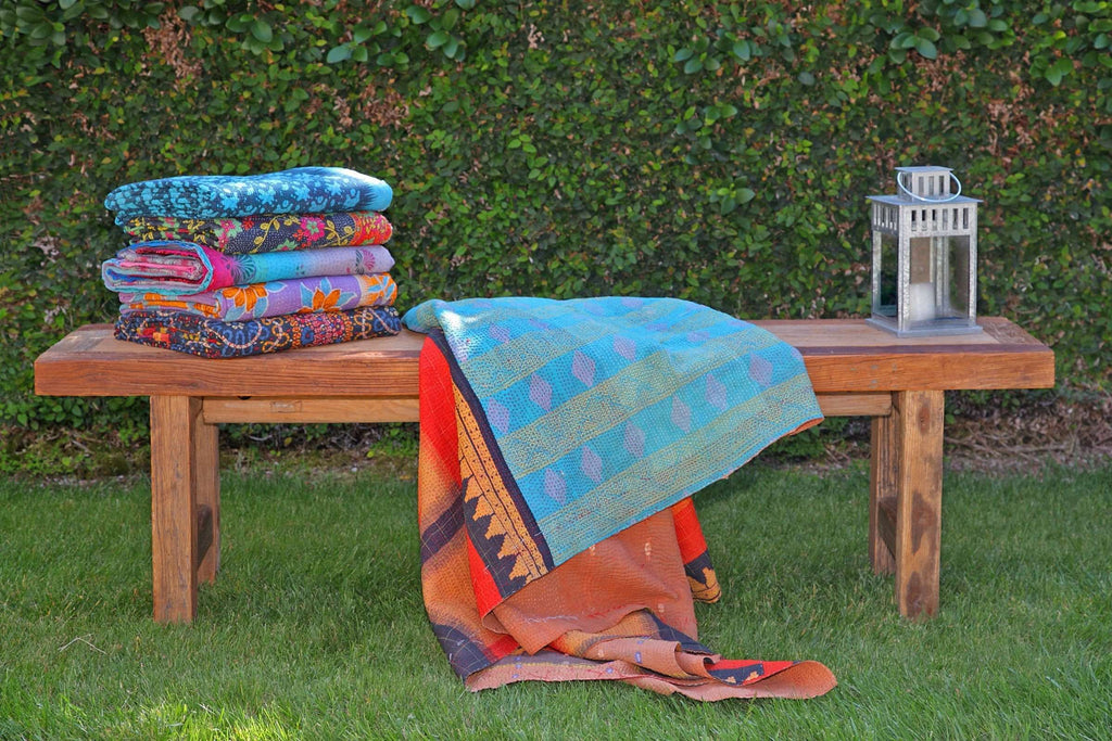 Kantha Throw - Blue Multi Variation