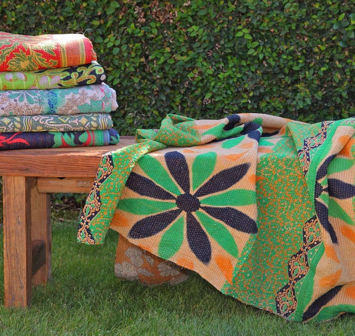 Kantha Throw - Green Multi Variation