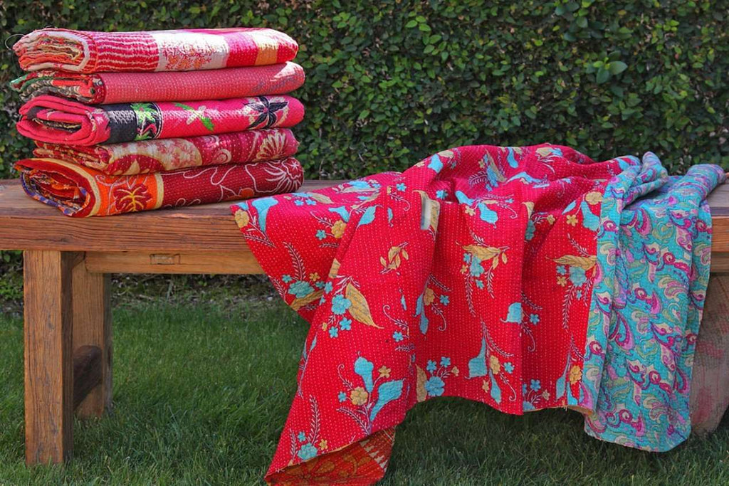 Kantha Throw  - Red Multi Variation