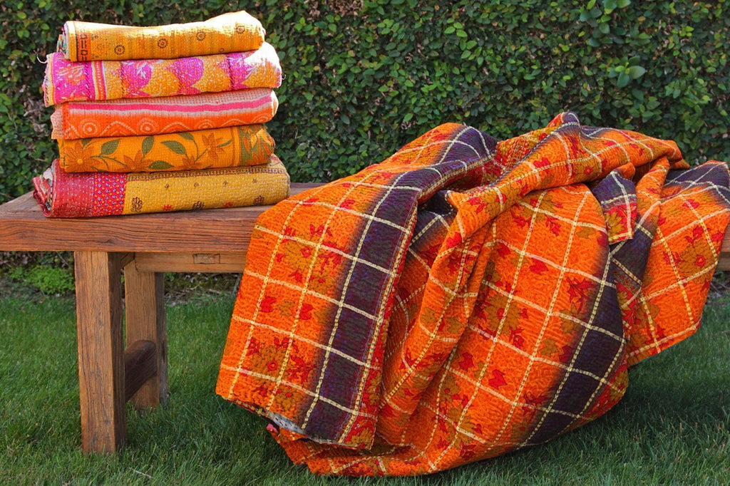 Kantha Throw  - Yellow Multi Variation