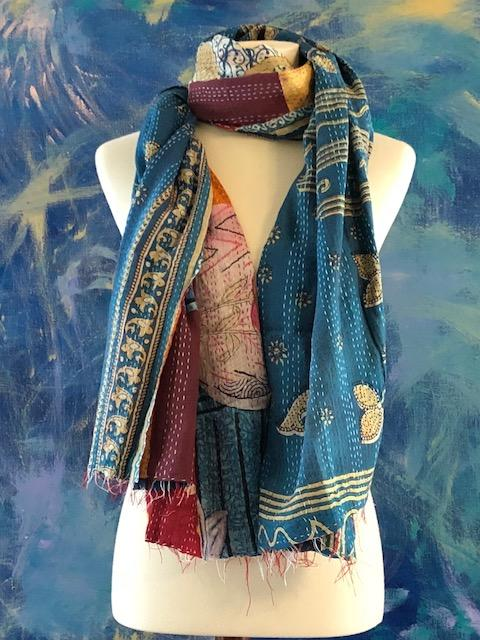 Vintage Multi Color Way Kantha Scarf