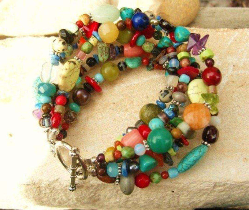 Semi-Precious Jewelry - Semi Precious Multi Color Bracelet