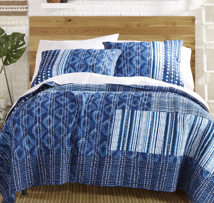 Boho Reversible Blue Kantha Coverlet Set