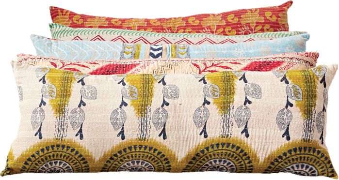 Hand Stitched Kantha Cotton Lumbar Pillow