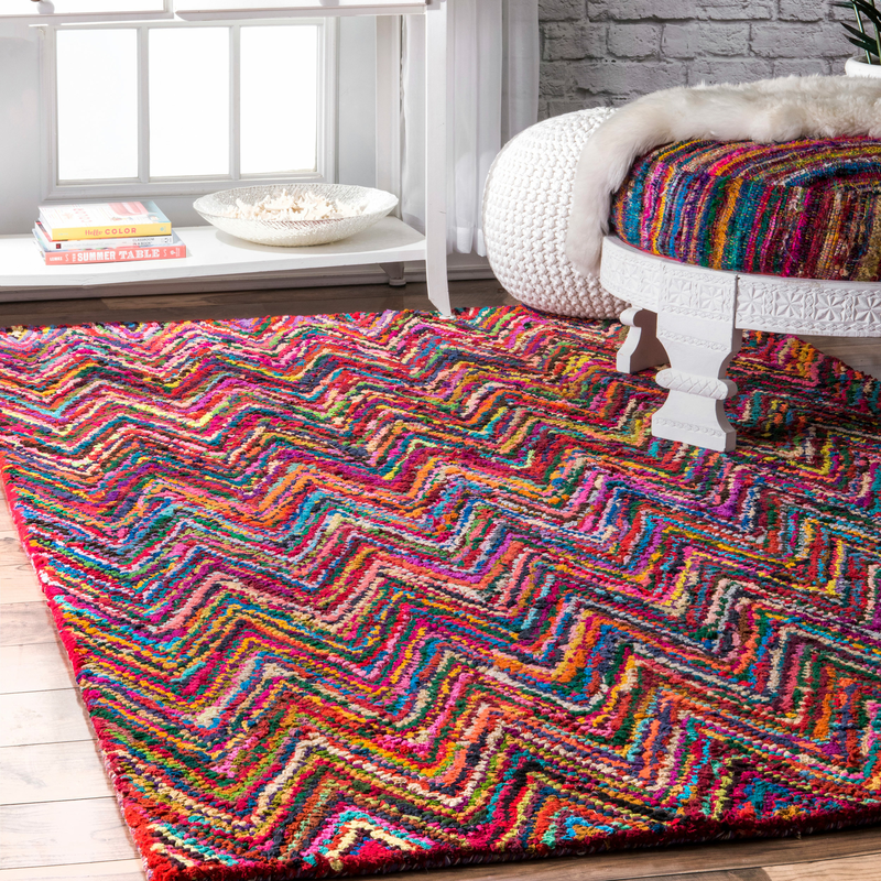 Hand Braided Kantha Multi Color Pattern Rug
