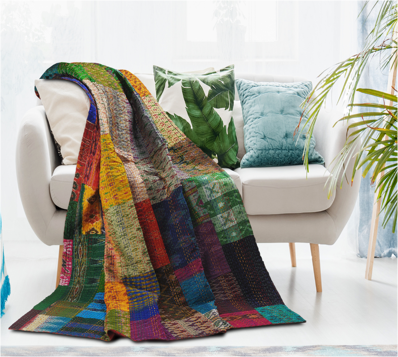 Hand Stitched Kantha Patchwork Throw