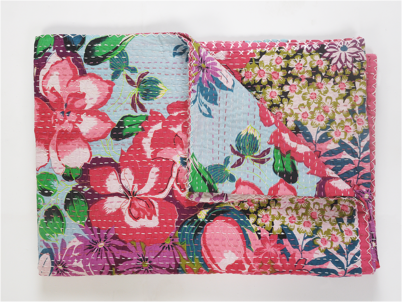 Hand Stitched Kantha Rose Throw