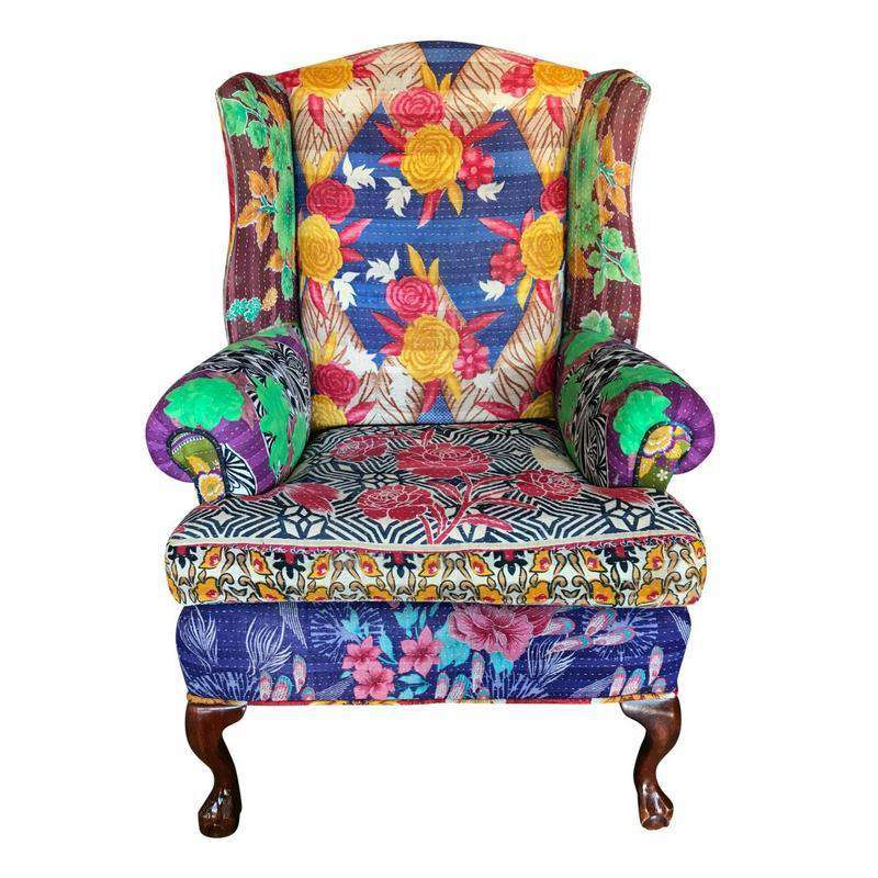 Vintage Kantha Chair Set - Vintage Kantha French Wingback Chair