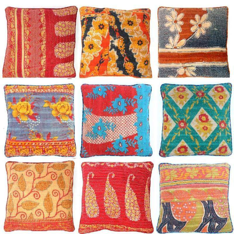 Vintage Kantha Pillow - Vintage Kantha Pillows