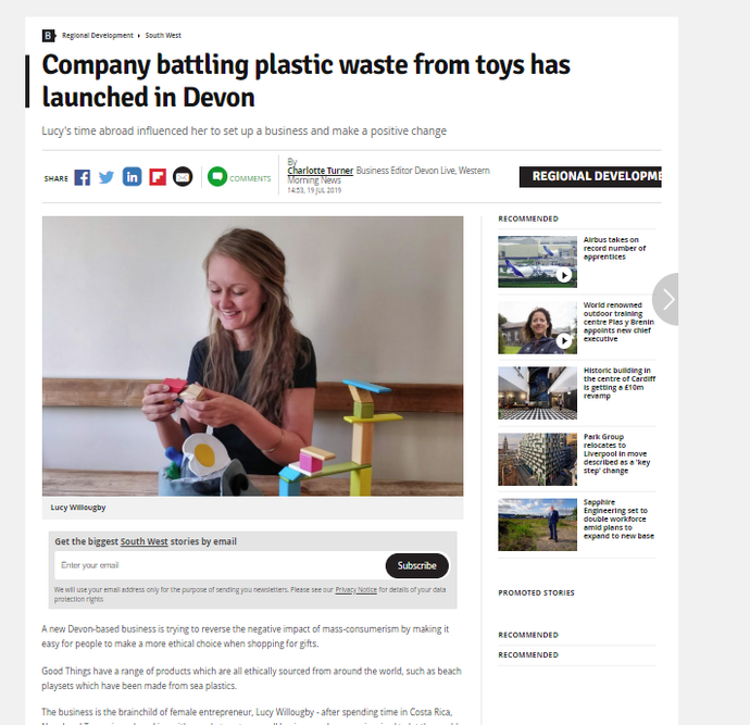 In the news: Company battling plastic waste from toys has launched in Devon