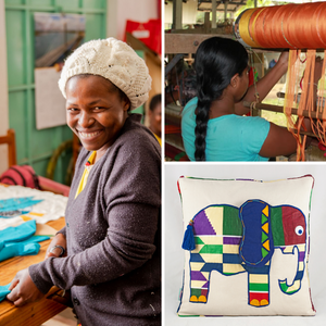 What is Fair Trade - image of suppliers and Fair Trade cushion