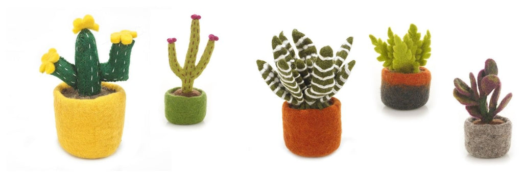 Best Mother's Day Gifts That Give Back - Fair Trade yellow bloom cactus - needle felted
