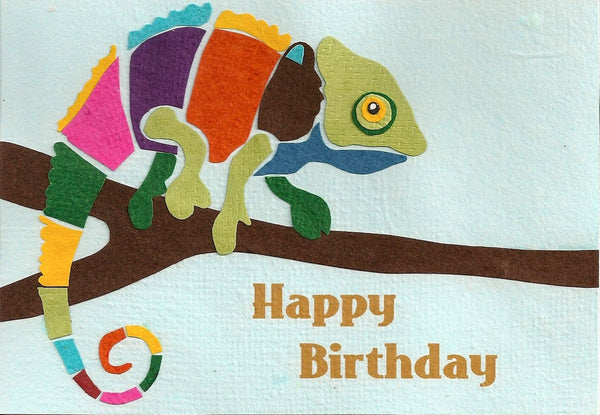 Chameleon Happy Birthday recycled card from Cards from Africa