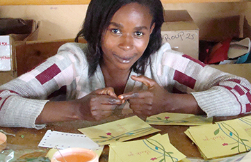 Clemence - fair trade work at Cards from Africa