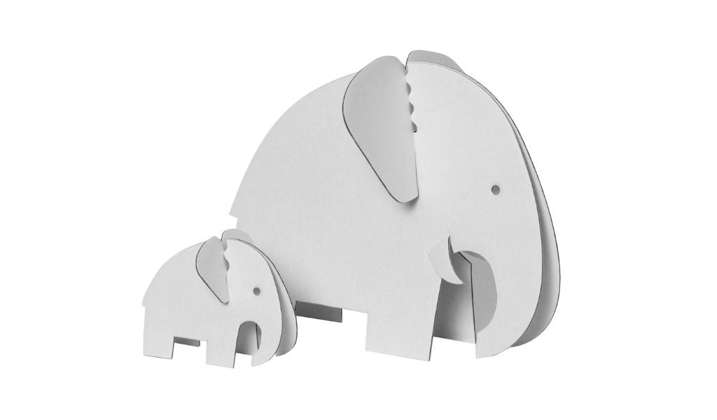 Gift Ideas - Lockdown Gifts for Loved Ones - build and colour in cardboard elephants