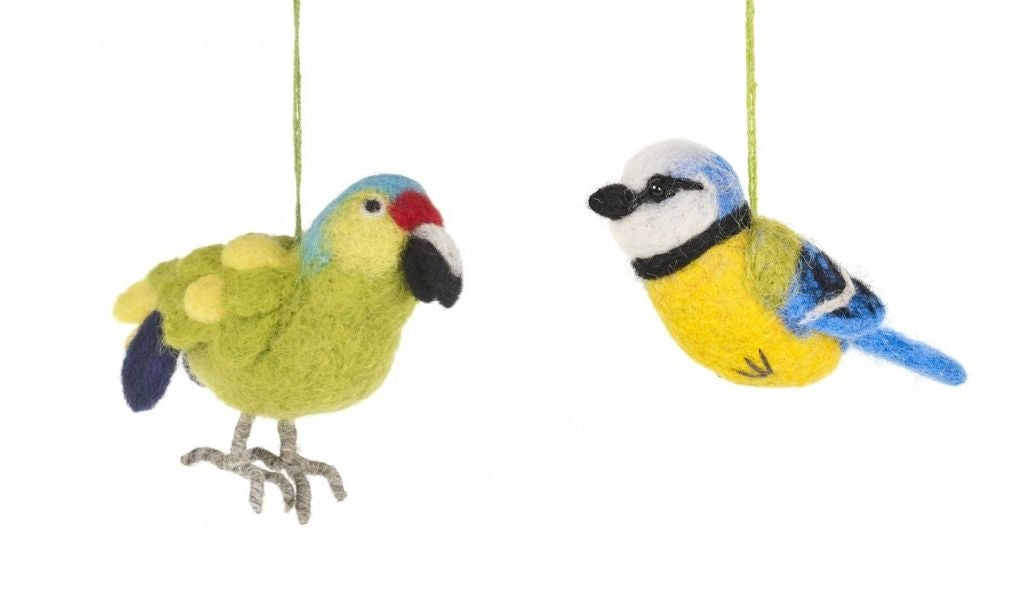 Gift Ideas - Lockdown Gifts for Loved Ones - needled feltet blue tit and parrot