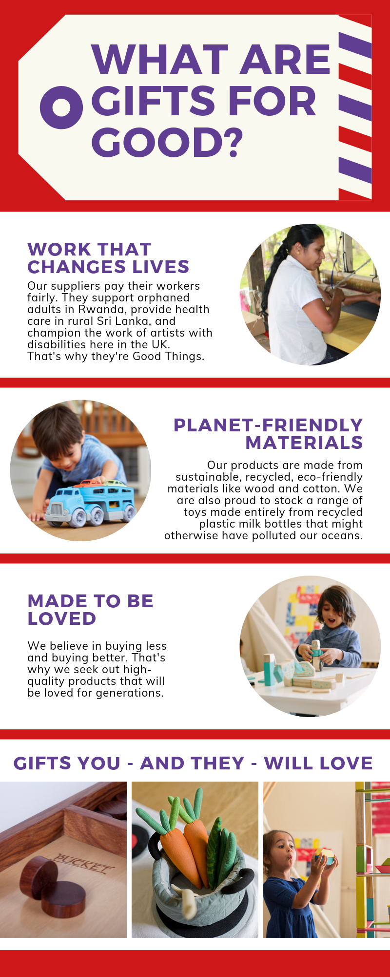 Gifts for Good eco-friendly, improving lives, made to last