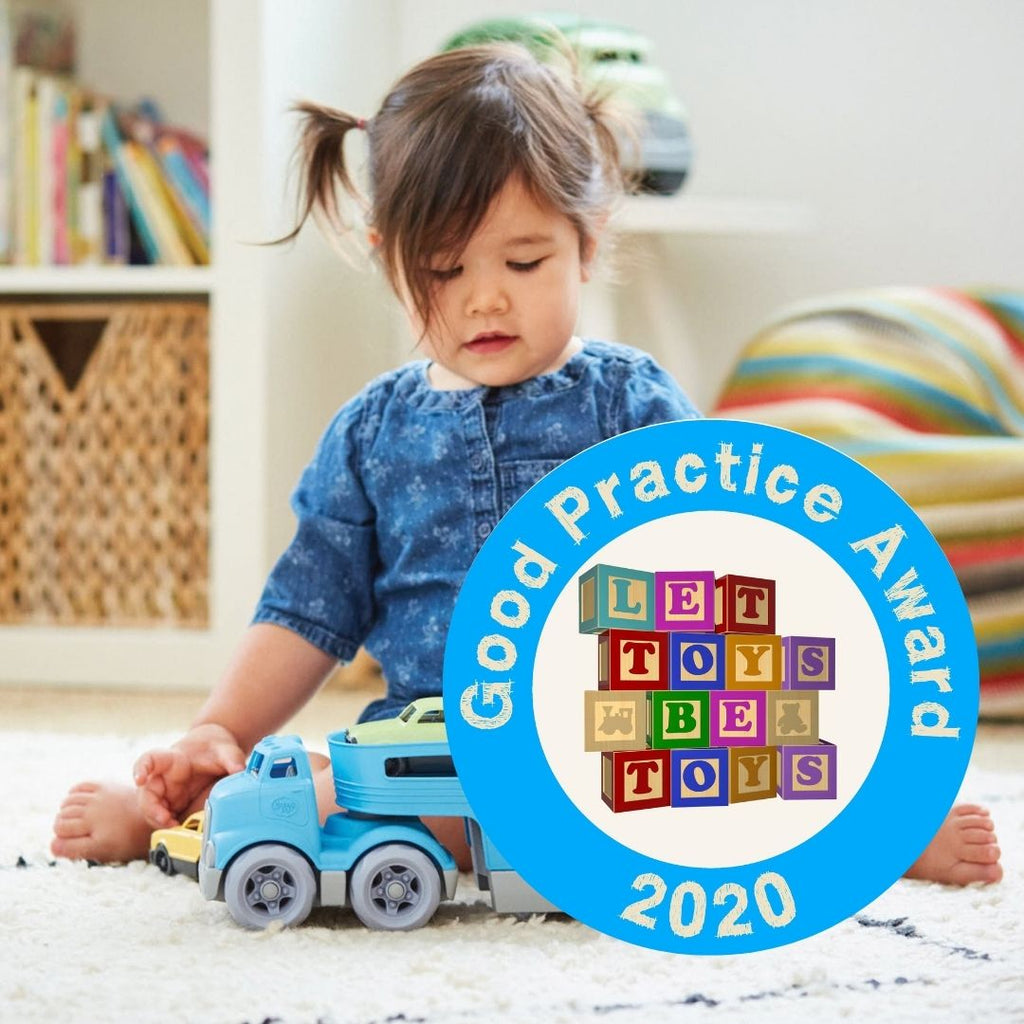 Good Things awarded Let Toys Be Toys Award - child playing with toy truck
