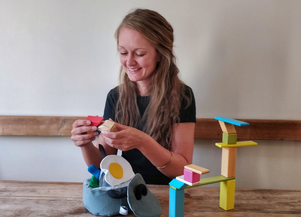 Lucy from Good Things with some sustainable toys