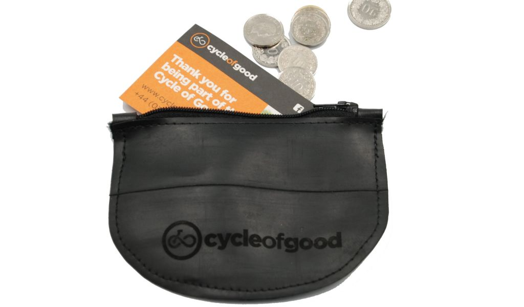 Recycled Inner Tube Coin Purse with coins - Zero Waste Gifts