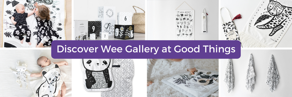 Banner displaying Wee Gallery products and link to Wee Gallery collection