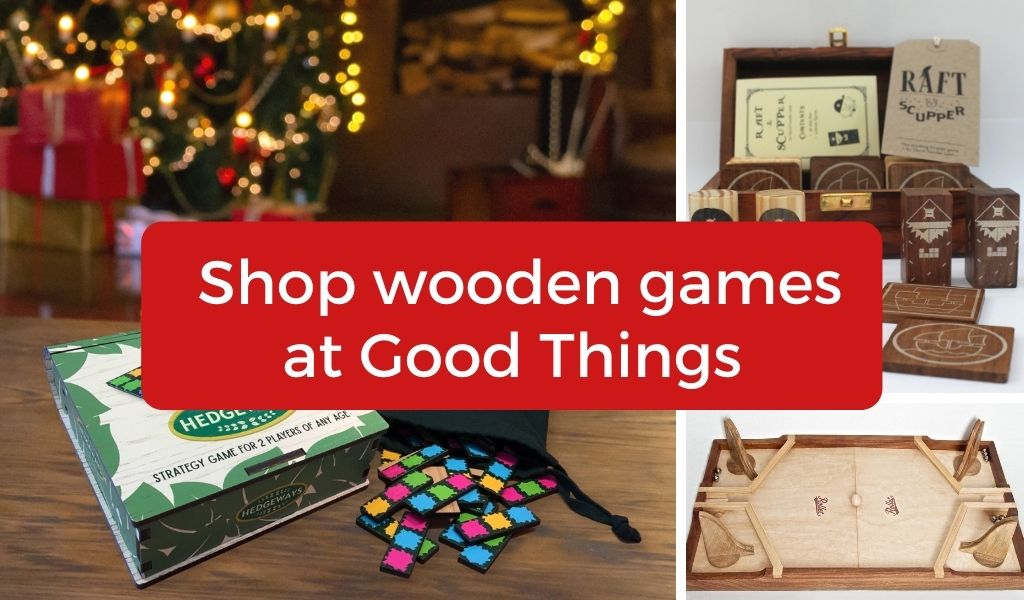 Text: Shop wooden games at Good Things