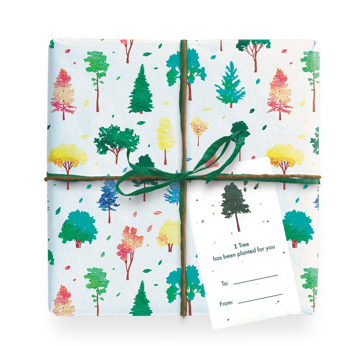 1 Tree Cards Wrapping Paper Pack - colourful trees gift