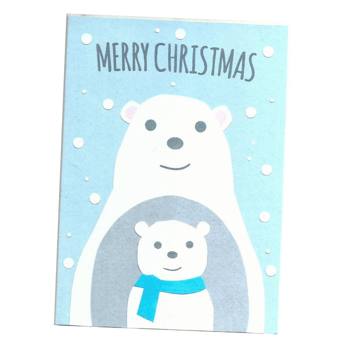Christmas Bears - Handmade and Recycled Christmas Card